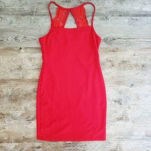 Lulus  Dress Red Bodycon Stretch Mini Dress